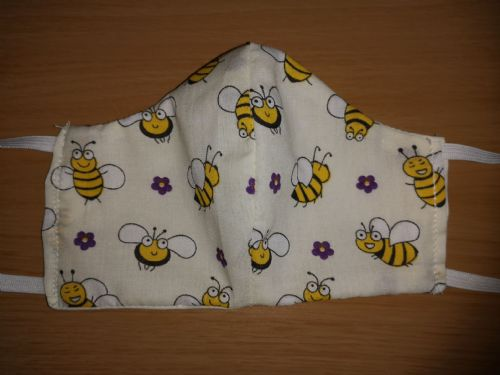 Handmade Breathable Eco Friendly Cotton Face Mask Cream Bee Adjustable Ribbon Ties Or Elastic